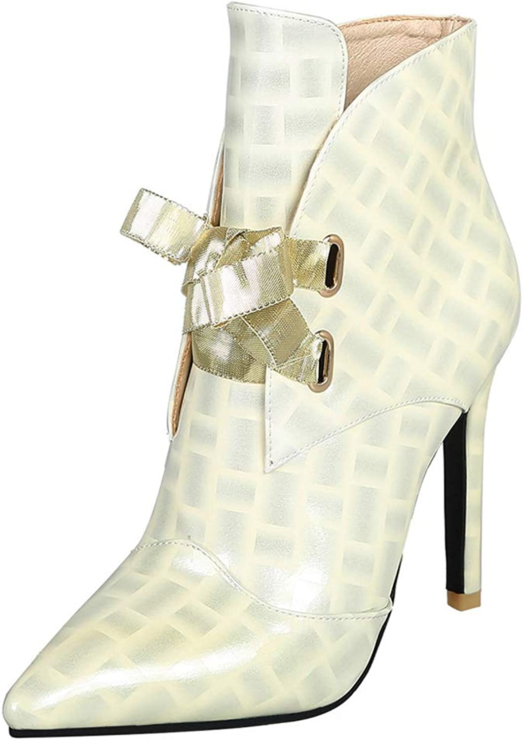 Vitalo Womens Lace Up High Heel Stiletto Ankle Boots Pointed Toe Patent Leather Booties