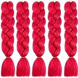 """24"""" Extensions Pour Tresse Jumbo Braid Kanekalon Extension Cheveux au Crochet Tressage synthétique Africaine Lot de 5 (rouge)"""