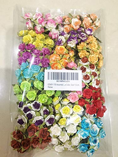 ICRAFY 170 Assorted Smallest Tiny Rose Mulberry Paper Flower Artificial Craft Scrapbook Wedding Supply Accessory DIY, Blue Green Purple Red Pink Edge White Color, Size 1.5 cm.