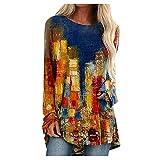 Caixunkun Damen Langarmshirt Pullover mit Knöpfen(Yellow, L)