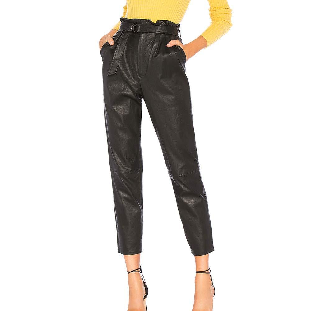 Pantalon Slim Femme Simili Cuir Mat Baggy Crayon Cuir Full Leg Leggings Synthétique Slim Collants Pantalons Taille Haute Elastique avec Poches