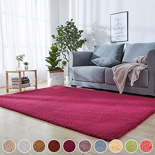 Teppich für Fußbodenheizung geeignet Rot 180 x 250 cm Teppiche Hochflor Shaggy Wärmeisolierung 8 Stück Anti Rutsch Teppichunterlage für Wohnzimmer Badezimmer