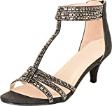 Cambridge Select Women's Open Toe T-Strap Crystal Rhinestone Mid Kitten Heel Sandal,8.5 B(M) US,Black Glitter
