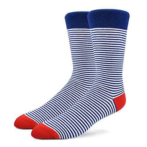 Patron Socks - Bunte Herren Socken mit Muster, Mehrfarbige Socken aus Baumwolle, Blau/ Gestreift, Gr. 41-46