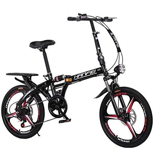 YDBET Bici de montaña Plegable de Bicicletas - Alquiler de Coches Plegable Estudiante Adulto Hombres Y Mujeres Plegable Bicicleta de la Velocidad de amortiguación de Bicicletas,Negro,16Inch