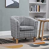WestWood Linen Fabric Tub Chair Armchair Dining Living Room Lounge Office Modern Furniture Grey Checked TC03 New