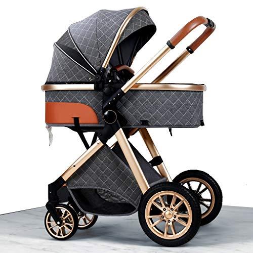 HEAYU Travel System Kinderwagen, Kinderwagen for Neugeborene, Hoch Landschaft Infant Wanderer & Reversible Standardkinderwagen, Faltbarer Kinderwagen mit justierbarem Canopy, Fahrwerk Räder