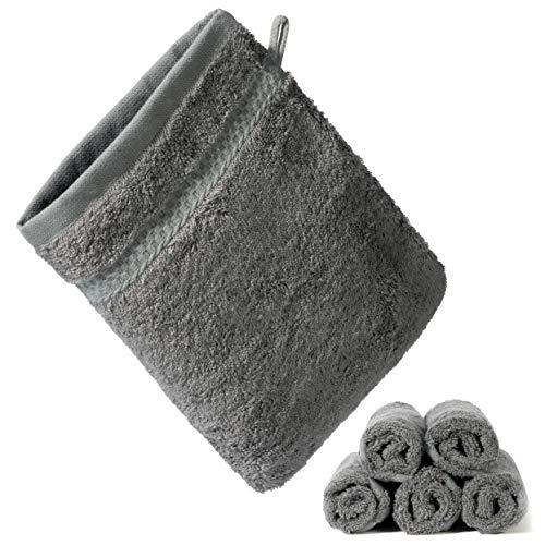 KERNWARE® Waschlappen (5 Stück in Grau) beschützend weiches Hautgefühl durch 70% Bambus - Waschhandschuh mit massiver Saugfähigkeit - antibakteriell (Anthrazit)