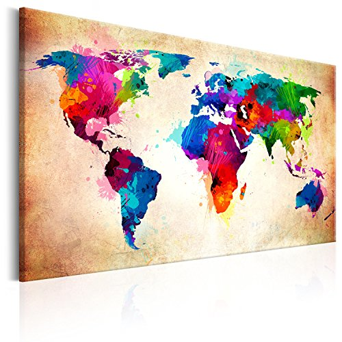 murando Weltkarte Pinnwand & Vlies Leinwand Bild 60x40 cm Bilder mit Kork Rückwand 1 Teilig Kunstdruck Korktafel Korkwand Memoboard Pinboard Wandbilder Karte Landkarte k-C-0038-p-a