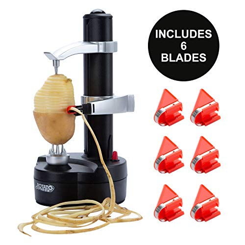 DRROT Automatic Electric Potato Peeler [ 6 Replacement Blades] - Automatic Rotating Fruits & Vegetables Cutter Apple Paring Machine - Kitchen Peeling Tool for Fruit Vegetables Battery Powered