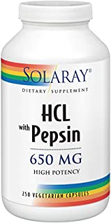 Solaray High Potency Betaine HCL with Pepsin 650 Milligram | Hydrochloric Acid Formula for Healthy Digestion Support | Lab Verified | 250 VegCaps