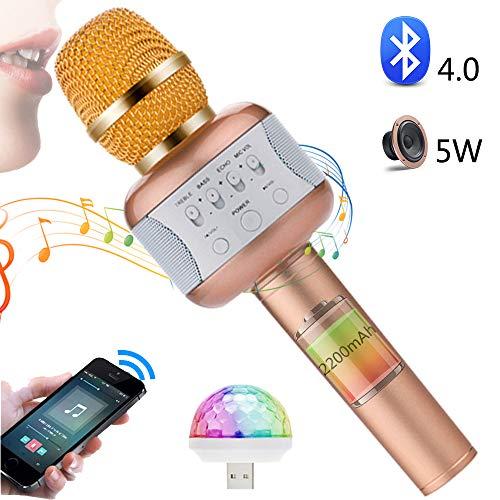 SHENGY microfoon met discoverlichting, draadloze karaoke-microfoon bluetooth-luidspreker, 2200 mAh-accu met grote capaciteit, voor gezinnen en feestkinderen buitenshuis