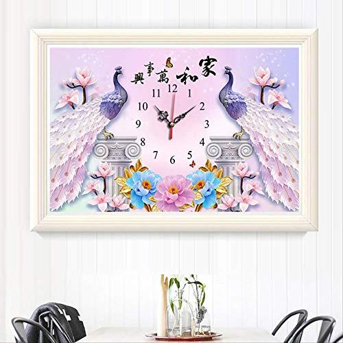 Imágenes Artes Por Números Diamante Pintura Punto De Cruz Reloj De Pavo Real Dormitorio De Diamantes Completo Diamante Redondo 60X40Cm