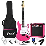 LyxPro 39' inch Full Size Electric Guitar with 20w Amp, Package Includes All Accessories, Digital Tuner, Strings, Picks, Tremolo Bar, Shoulder Strap, and Case Bag Complete Beginner Starter kit - Pink