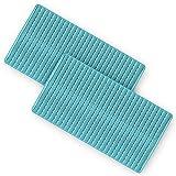 Pack 2 Alfombra bañera Antideslizante y Resistente de 68 x 37 cm. Esterilla de Tina sin BPA Antibacterial. Alfombrilla de Ducha Resistente al Moho y Lavable a Maquina. (Azul)