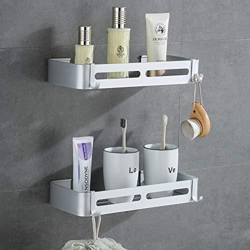 Yeegout Mensole angolari per bagno senza trapano con ganci rimovibili Portaoggetti per doccia adesivo in alluminio lucido sabbia (Piazza Argento)