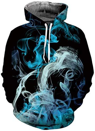 RITIOA 3D Druck Snipes Hoodie Farbiger Rauch Druck Hoodie Kapuzenpullover Langarm Sweatshirt mit Drawstring Taschen-T15 Farbiger Rauch-M
