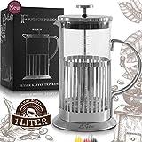 Le Flair® French Press Edelstahl für 1 Liter Kaffee - Tee Presskanne 1L aus Glas - Coffee Press...