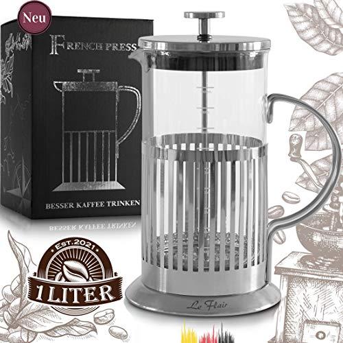 Le Flair French Press - Cafetera de émbolo de acero inoxidable para 1 litro de café, 1 L de cristal, incluye caja de regalo