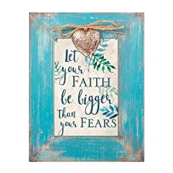 let your faith be bigger than your fear, teal picture frame