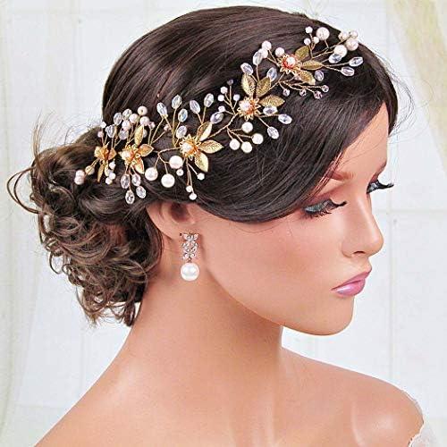 Unicra Flower Bride Wedding Hair Vine Leaf Bridal Long Headband Pearl Crystal Hair Accessories product image