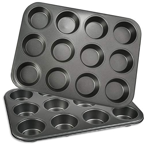 12 Cups Muffin Tray Non-Stick - 2 Pack | OFNMY Carbon Steel Muffin Tray Cupcake Molds Muffin Pan Cake Tin to Making Cupcakes, Yorkshire, Pudding, Muffins and Baking | 35 * 26 * 3cm