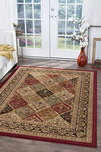 Princeton Traditional Oriental Red Rectangle Area Rug, 8' x 10'
