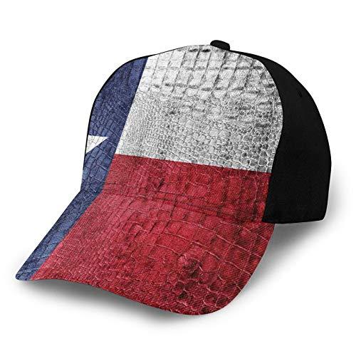FULIYA Gorra de béisbol para hombres y mujeres, bandera del estado de Texas, pintada en piel de cocodrilo de lujo, textura de piel de serpiente, emblema patriótico clásico, ajustable, sombrero