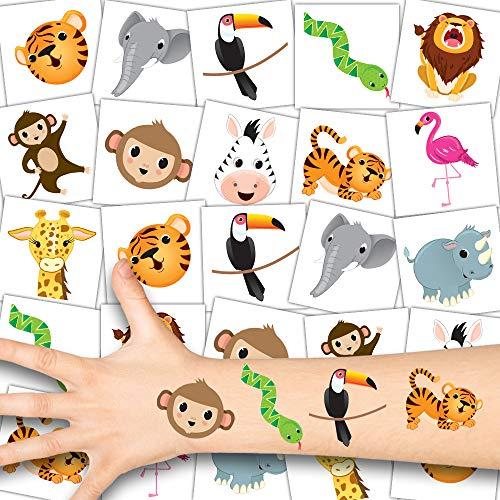 German Trendseller® 36 x Zoo Tier Tattoos - Tattoo temporär ┃ Safari Party ┃ Kindergeburtstag ┃ Mitgebsel ┃ Geschenkidee ┃ 36 Tattoos
