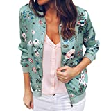 Women Retro Floral Zipper Bomber Jacket Long Sleeve Casual Chic Coat Streetwear(Green,X-Large)