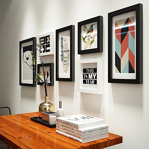 Anyi 7 Pack Negro Moderno Minimalista Foto Pared decoración Sala de Estar combinación Foto Marco de Fotos Creativo Pared