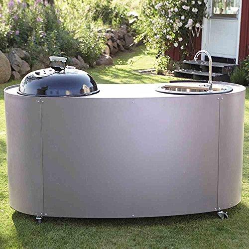 Twin Kitchen mit Gasgrill, Waschbecken und Schneidbrett Umrandung Edelstahlblech, Arbeitsfläche pulverbeschichteter Stahl