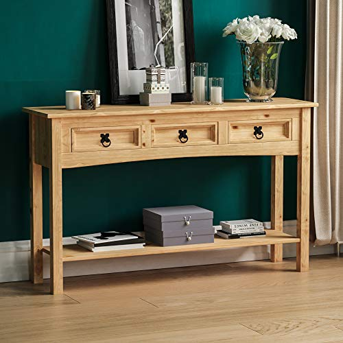 Amazon Brand - Movian Corona Console Table, 2 Drawer With Shelf, Solid Pine Wood, 70 x 83 x 31 cm