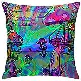 2PC 18X18,Weiche Wurfkissenbezüge Psychedelic Trippy Mushroom Patio Balcony Pillow Protector für Urlaubsspiele mit Invisible Smooth Zip