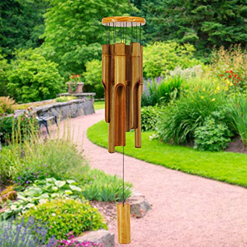 ASTARIN Bamboo Wind Chimes Outdoor,Wooden Wind Chimes with Melody Deep Tone,30 Classic Zen Garden Windchime for Relaxation, Grace.Home D