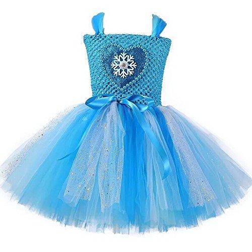 Meisjes Prinses Elsa Tutu Jurk Liefde Parels Sneeuw Patroon Feestjurken voor Kinderen