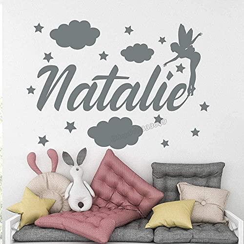 Sala de estar dormitorio decoración de la pared pegatinas de pared nombre de niña cruz personalizada cuento de hadas habitación de los niños calcomanías de dormitorio de niña 60x42 cm