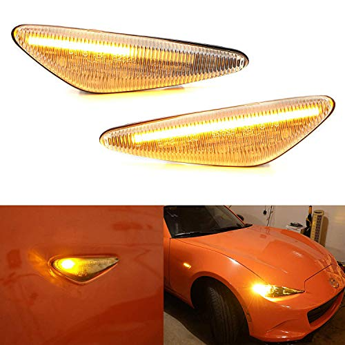 iJDMTOY Clear Lens Dynamic Sequential Blink/Flow Amber LED Front Side Marker Light Kit Compatible With 2016-up Mazda MX-5, 2009-2012 Mazda RX-8, 2017-up Fiat 124 Spider, Replace OEM Sidemarker Lamps