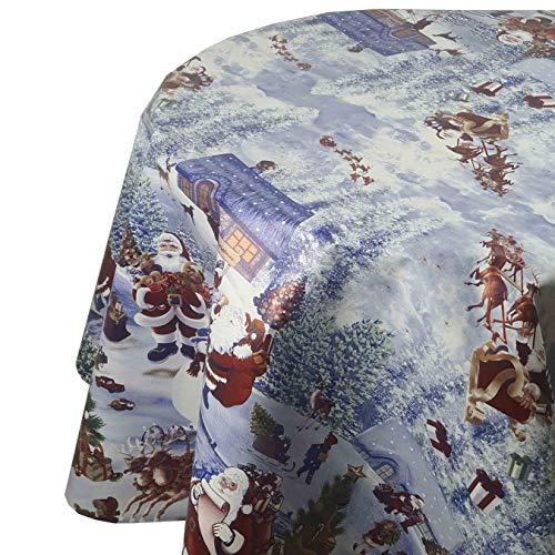 DecoHomeTextil Wachstuch Weihnachten Christmas RUND OVAL Größe & Farbe wählbar Oval 130 x 160 cm Weihnachten Blau abwaschbare Tischdecke
