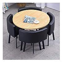 耐久性のあるテーブルと椅子のセット ホームリビングルーム表とチェアセット4現代のミニマリストスタイルのキッチンレストランスタディ表示90cmのダイニングテーブル DYYD (Color : Black 1)