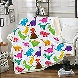 Xzfddn Manta de dinosaurio de dibujos animados sherpa de franela manta de felpa en la cama sofá gruesa y cálida estilo 6