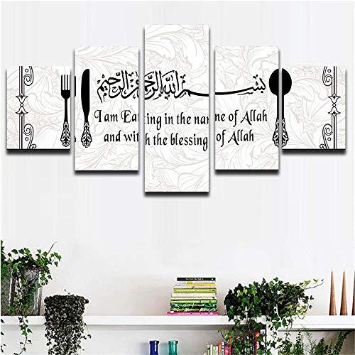 Lv5Panel Decoración De Pared 5 Piezas De Imágenes, Caligrafía Árab