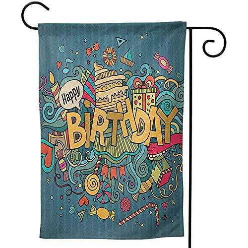 KL Decor Outdoor Grappige Decoratieve Print Beide Zijkanten voor Alle Seizoenen & Vakanties Verjaardag Heerlijke Grote Taart Viering Rijpe Fruit Snoepjes op Swirled Vintage Achtergrond