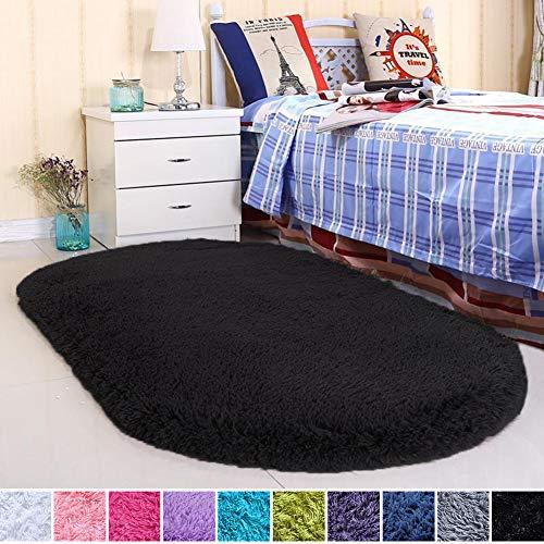 Noahas Ultra Soft Velvet Bedroom Rugs Kids Room Carpet Modern Shaggy Area Rugs Home Decor 2.6' X 5.3', Black