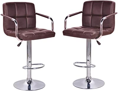 Fine Amazon Com Modern Square Pu Leather Adjustable Bar Stools Onthecornerstone Fun Painted Chair Ideas Images Onthecornerstoneorg