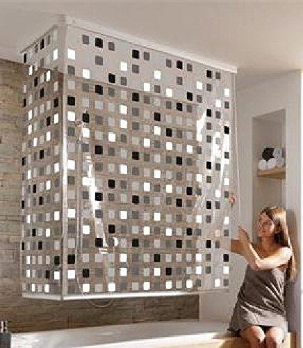 Eck Duschrollo Mosaik Grau incl. Gratis Nackenkissen weiss