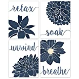 Relax, Soak, Unwind, Breathe Blue & White with Gray Tone Bath Flower Poster Prints, Set of 4 (8x10) Unframed Photos, Wall Art Decor Gifts Under 20 for Home Office, College Student Teacher, Floral Fan