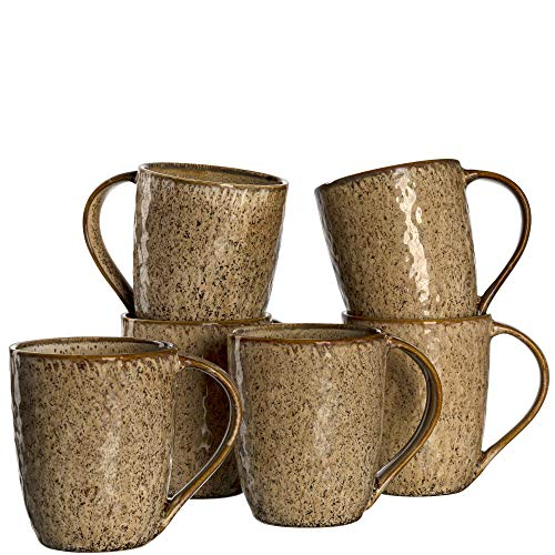 Leonardo Matera Keramik-Tassen 6-er Set, spülmaschinengeeignete Kaffee-Tassen, 6 mikrowellenfeste Tee-Tassen, Becher mit Glasur, beige 430 ml, 018538