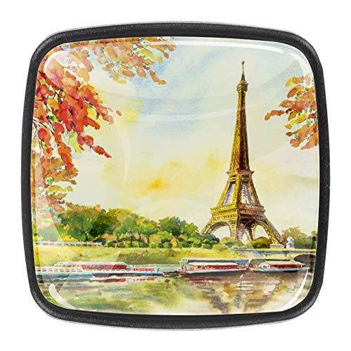 France Torre Eiffel Romantic The Seine River Autunno pittura ad acquerello moderno quadrato pomelli per armadietto monoforo maniglia cassetto per cucina e bagno armadio