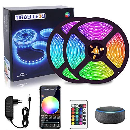 20m tiras led WiFi, Tiray Ledy tira de led inteligente RGB 5050 compatible con Alexa Google Home tira de luces de led con App Control sync remota con música para el hogar, cocina, TV, Bar, fiesta